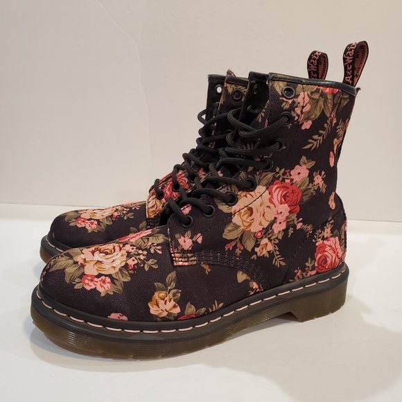 Cheap Floral Combat Boots